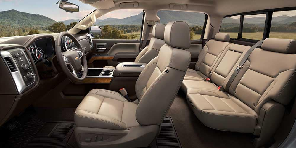 2018 Chevy Silverado 1500 side view of seats and driver seat