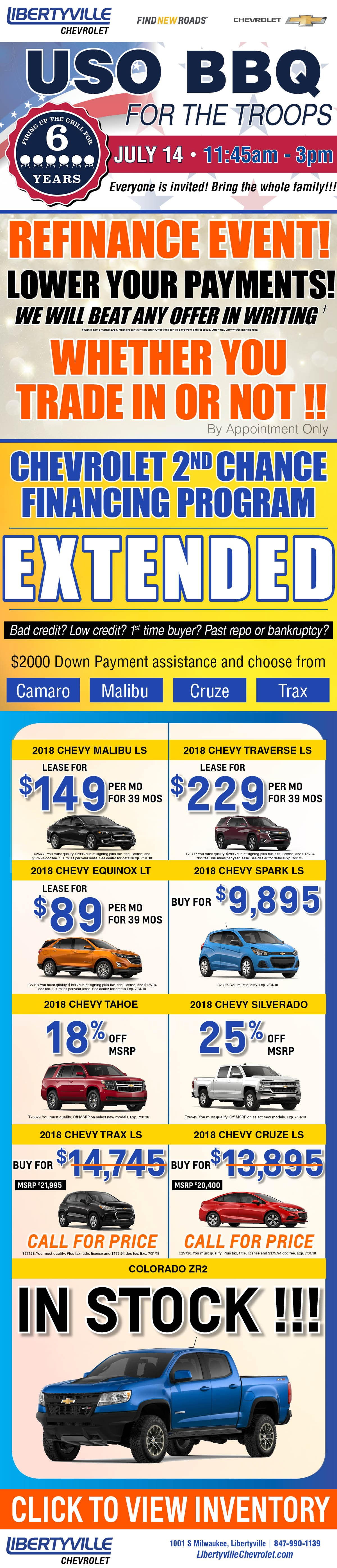 current new chevrolet vehicle specials offers libertyville chevrolet