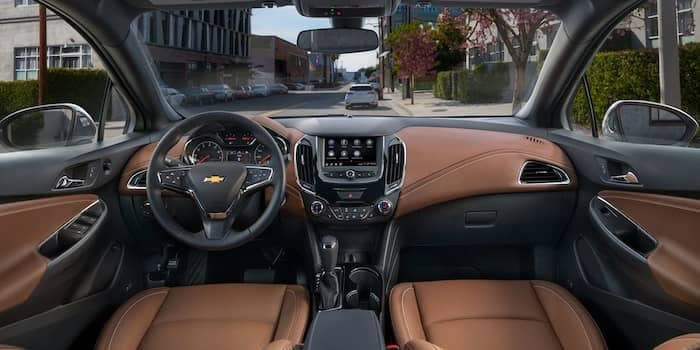 View of 2019 Chevy Cruze Interior Dash with Brown Leather