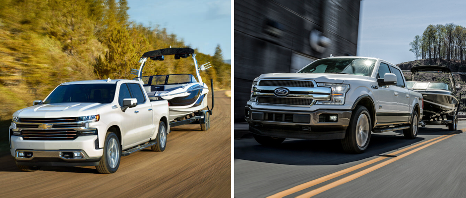 2019 Chevy Silverado 1500 vs. Ford F-150 Towing Boats