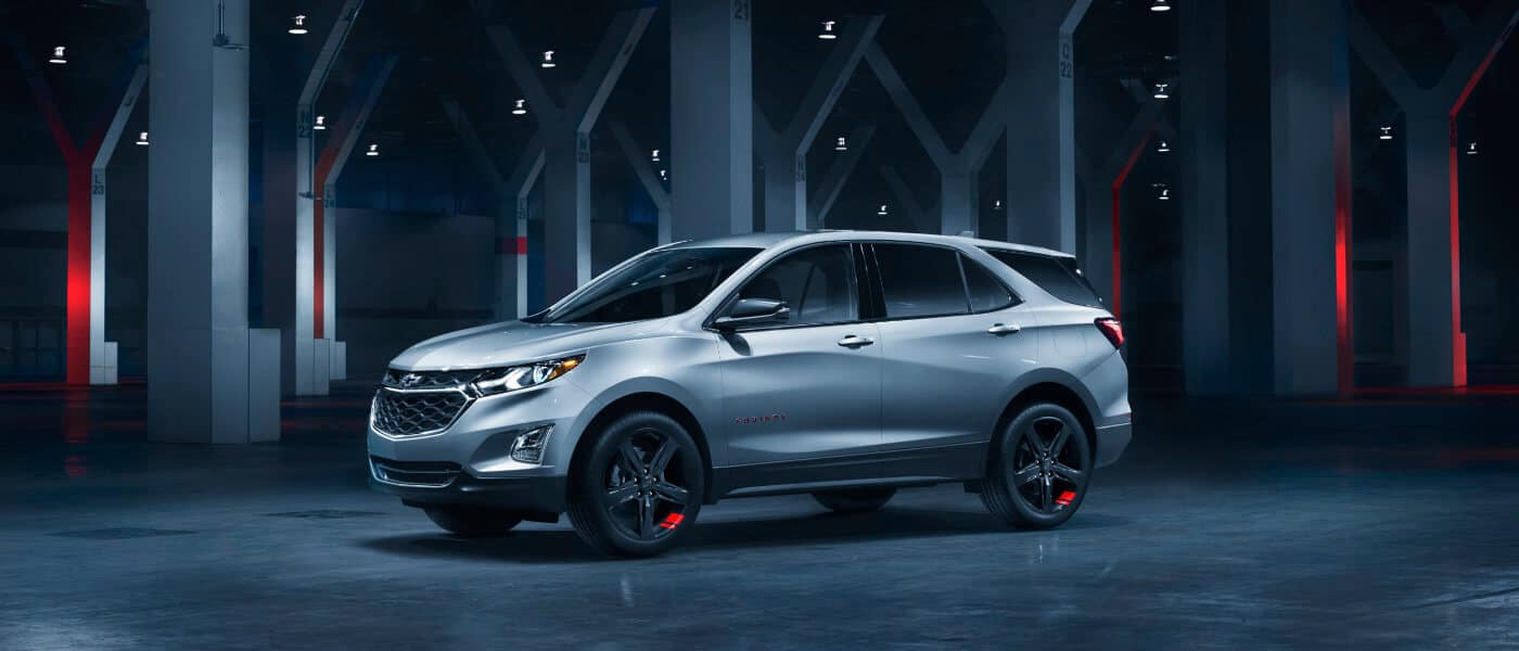 2019 Silver Chevy Equinox Parked in a Futuristic Room