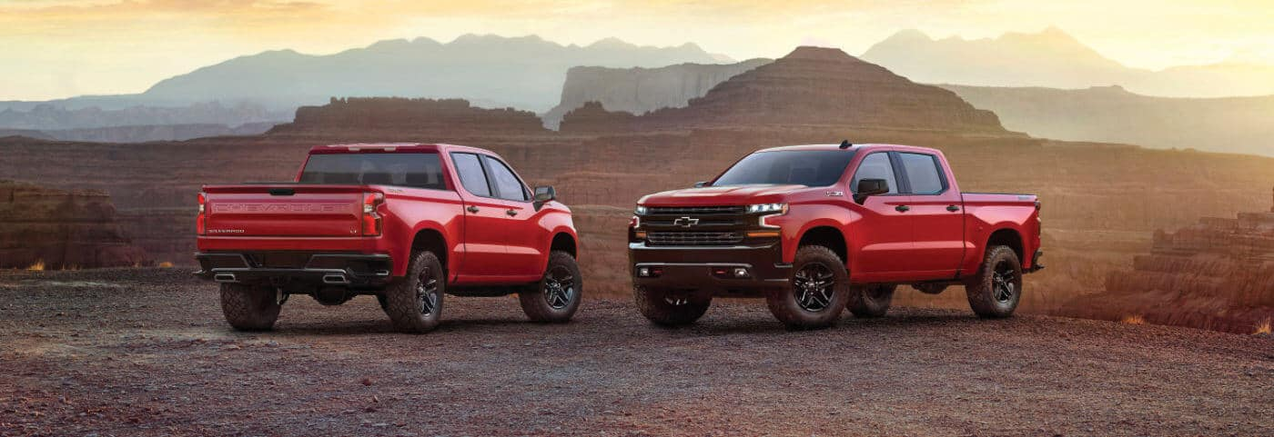 2019 Red Chevy Silverado 1500 Parked by a Canyon
