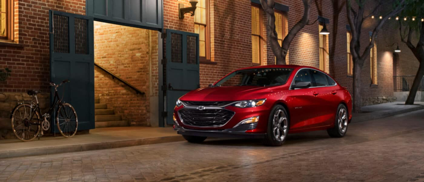 2019 Chevy Malibu exterior outside brick building at night