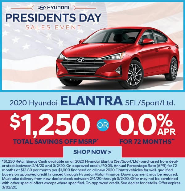 2020 Elantra SEL/SPORT/Ltd. $1,250 off MSRP
