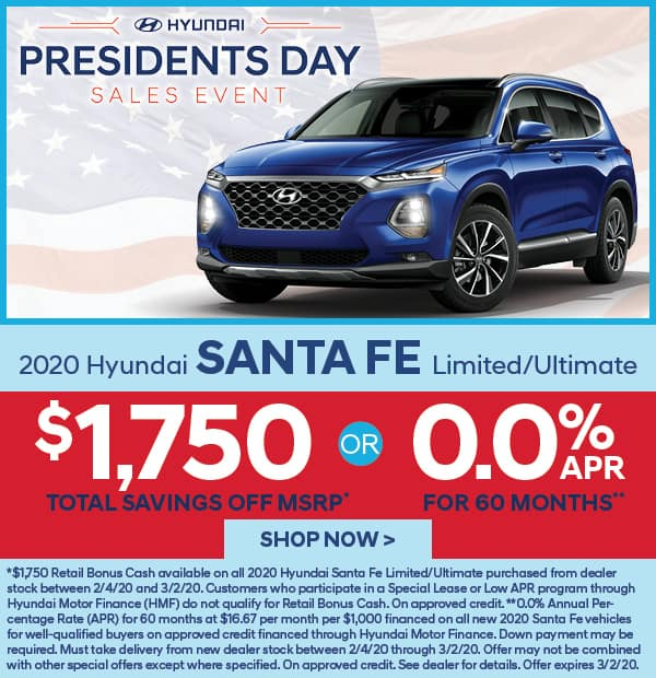 2020 Santa Fe Limited/Ultimate $1,750 off MSRP