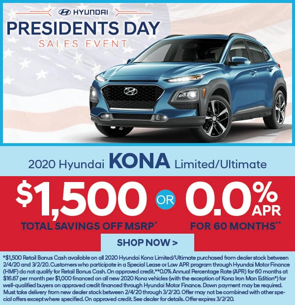 2020 Kona Limited/Ultimate $1,500 off MSRP