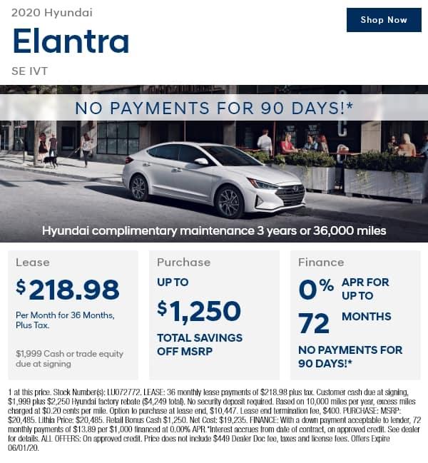New 2020 Hyundai Elantra SE IVT SULEV FWD 4dr Car