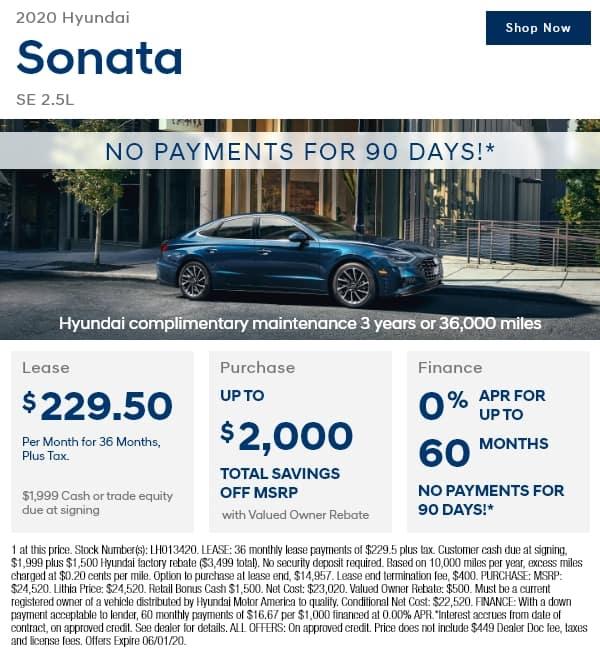 New 2020 Hyundai Sonata SE 2.5L FWD 4dr Car