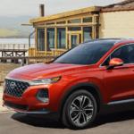 2020 Hyundai Santa Fe parked by lakeside restaurant