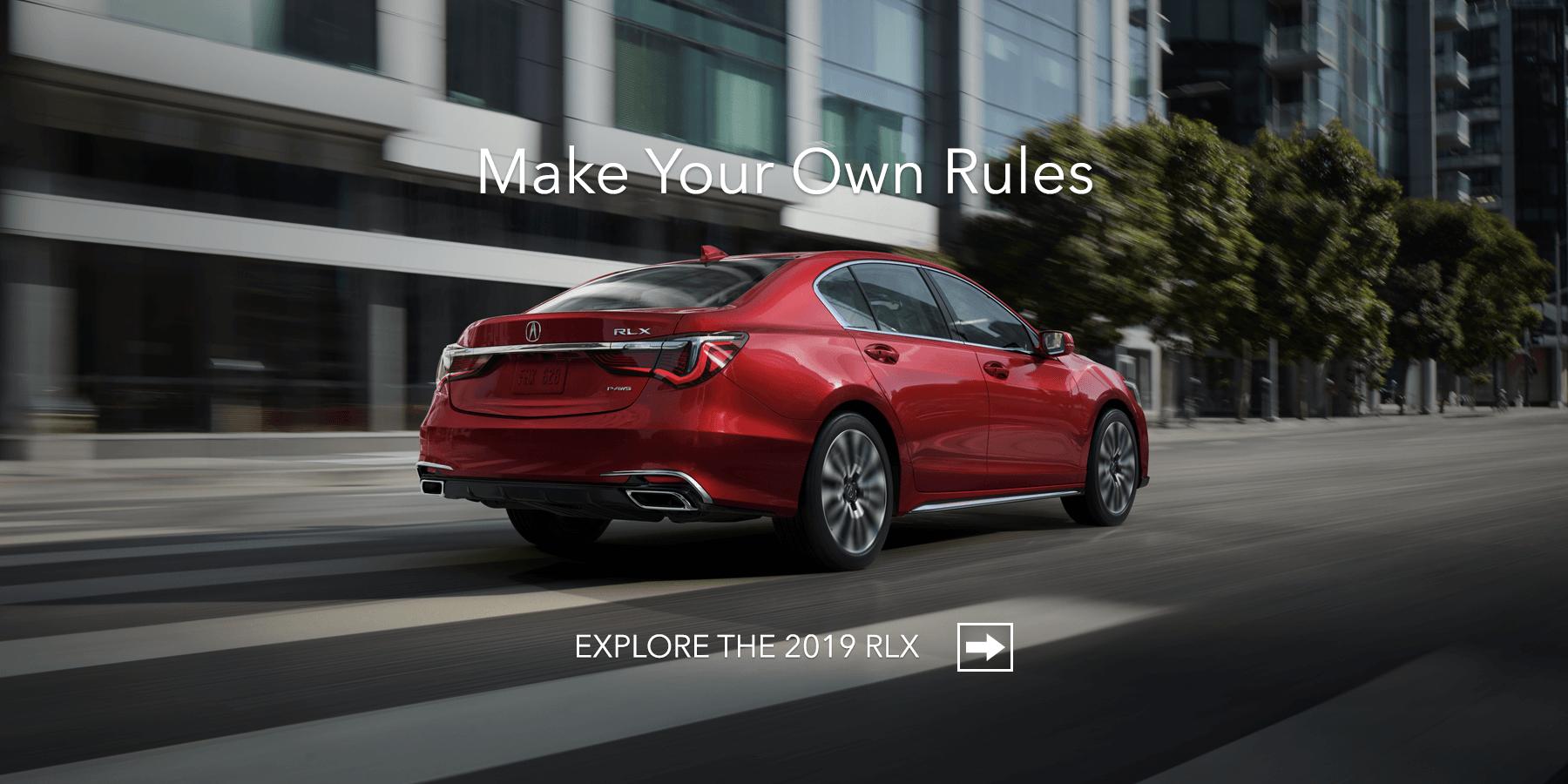 2019 Acura RLX Brilliant Red Metallic Rear Angle HP Slide