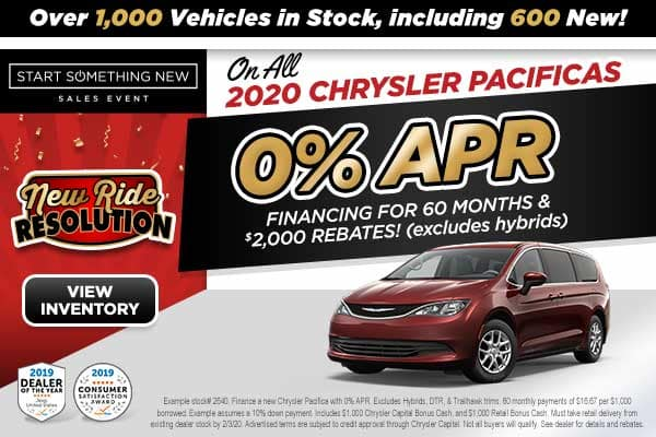 0% APR ON ALL 2020 CHRYSLER PACIFICAS