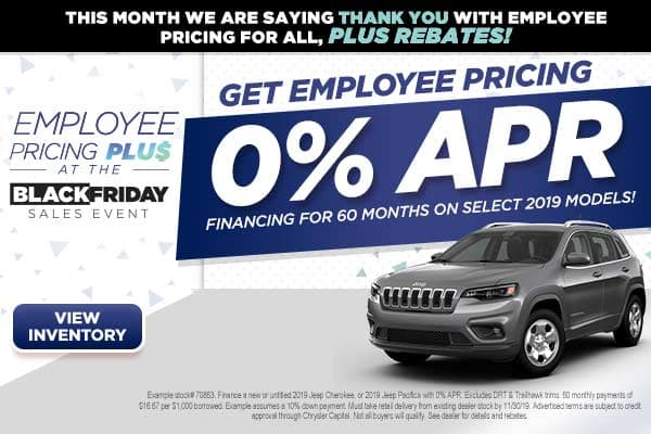 0% APR for 60 months on select 2019 models