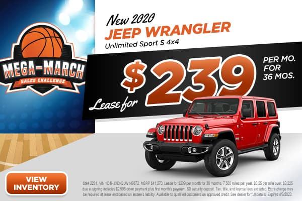 NEW 2020 JEEP Wrangler Unlimited Sport S 4x4 Sport Utility
