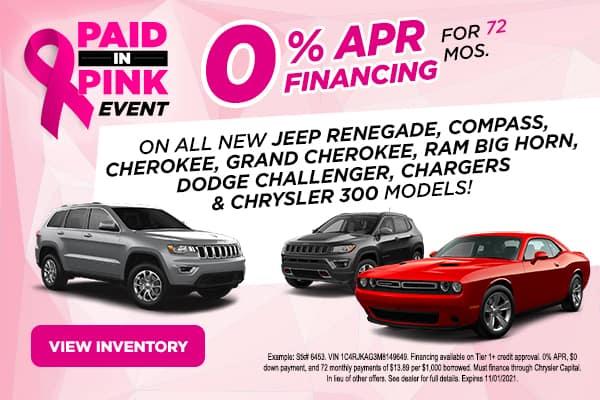 Jeep Renegade, Compass, Cherokee, Grand Cherokee, Ram Big Horn, Dodge Challenger, Charger and Chrysler 300 models