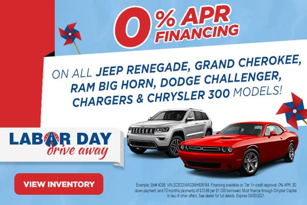 Jeep Renegade, Grand Cherokee, Ram Big Horn, Dodge Challenger, Charger and Chrysler 300 models