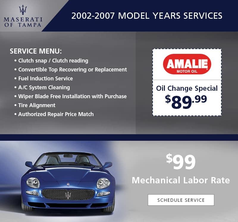 Vintage Maserati Service Specials