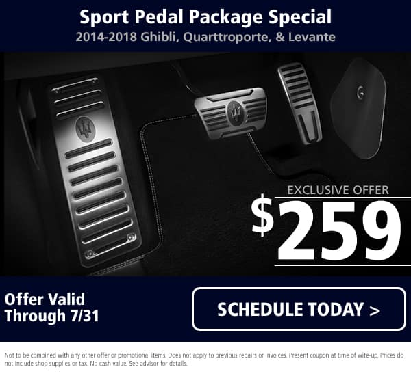 July Maserati Sport Pedal Package
