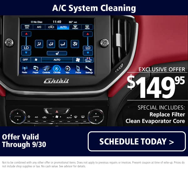 Maserati A/C System Cleaning