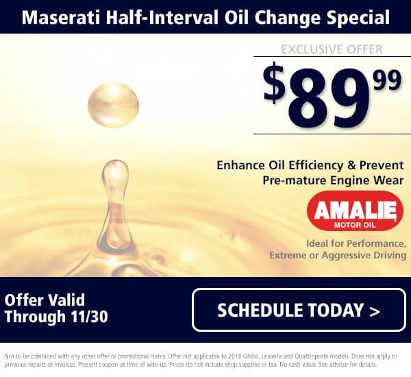 November Maserati Half-Oil Change Special