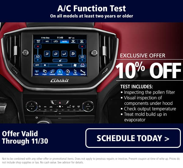Maserati A/C Function Test