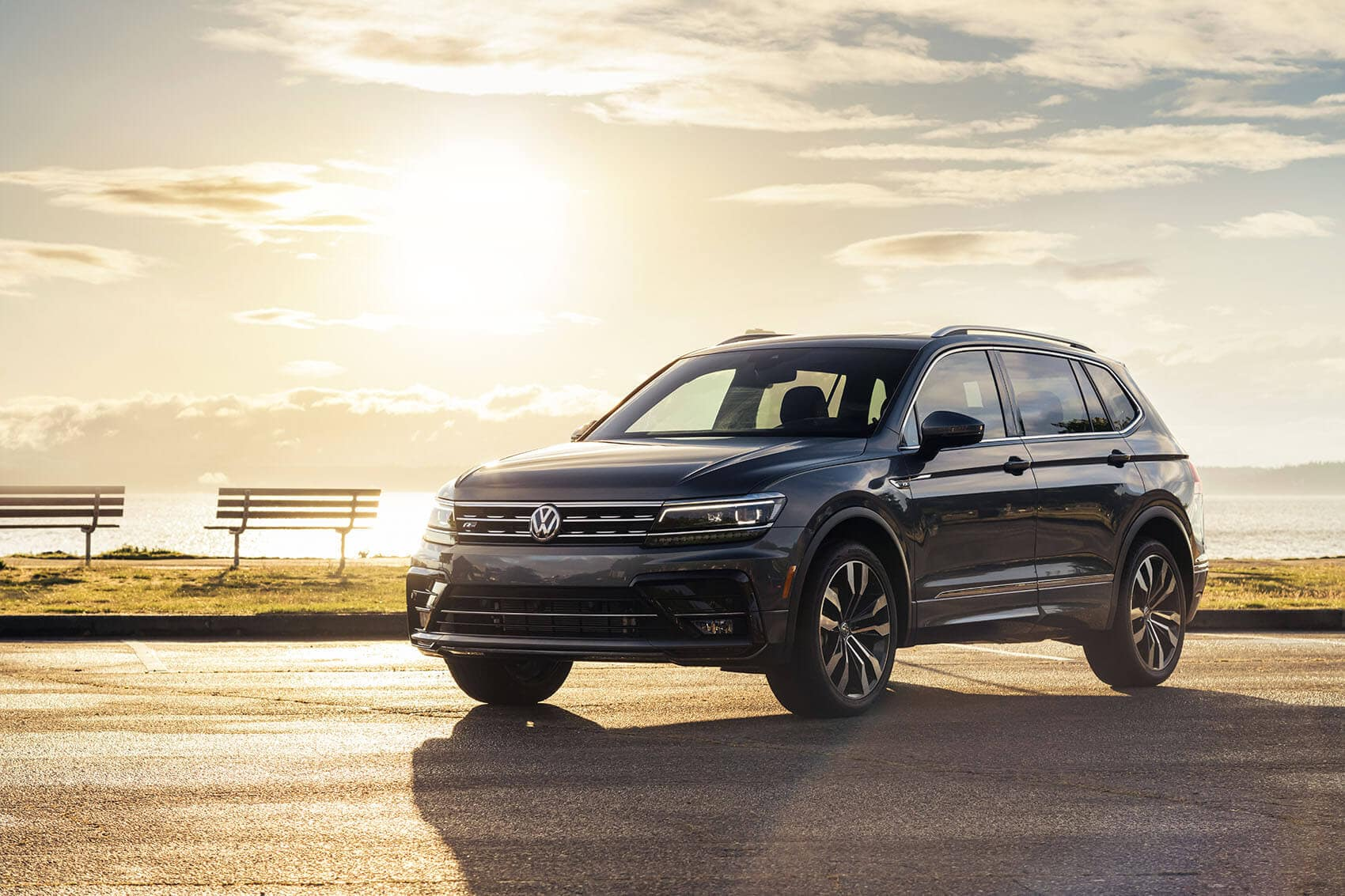 VW Tiguan With Sunset Behind