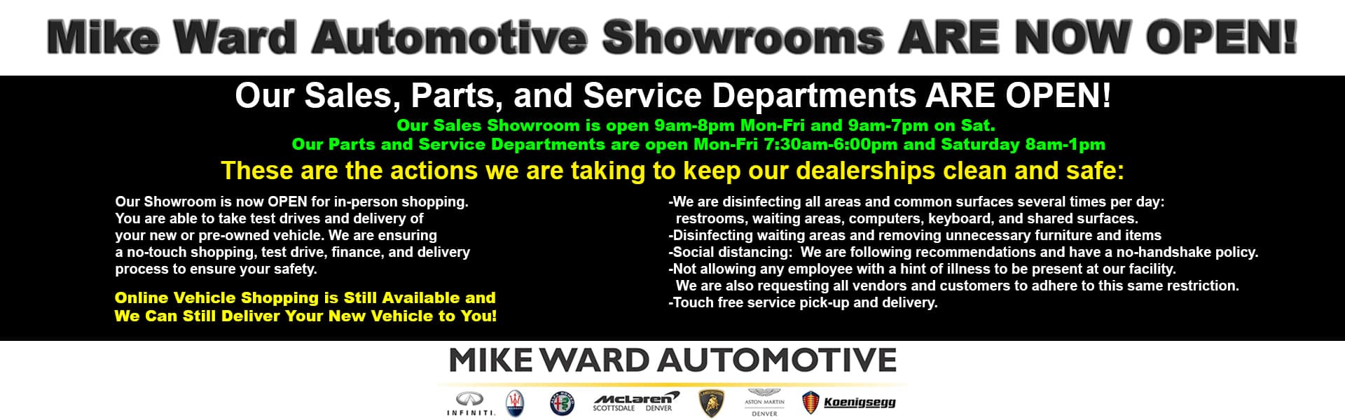 Mike Ward Automotive Dealerships are OPEN!