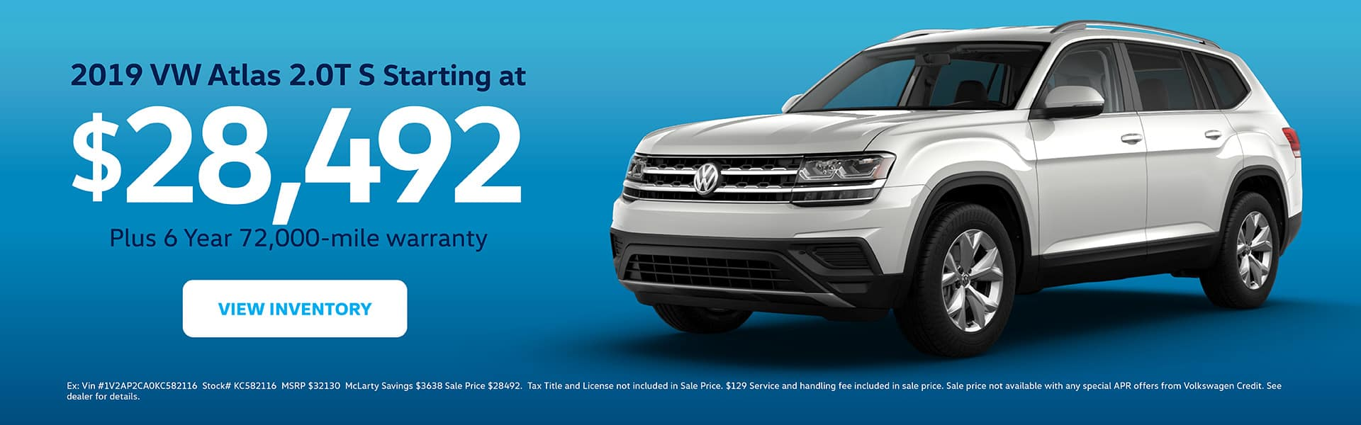 View inventory of the 2019 Atlas 2.0T starting at $28,363. 6 year/72,000 warranty included.