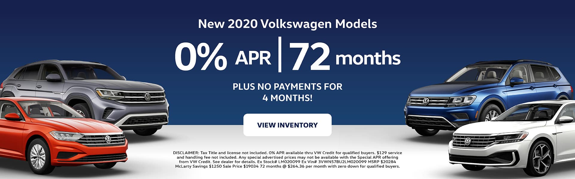 New 2020 Volkswagen Models now 0% APR for 72 Months!