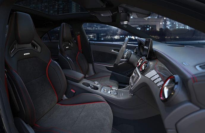 2019 Mercedes-Benz CLA Interior Black Leather at Night
