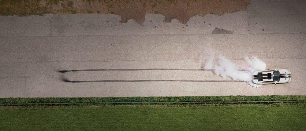 Aerial View of Dodge Charger on Track