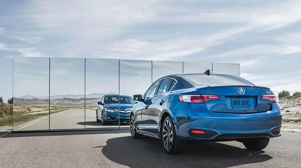 Blue 2017 ILX technology plus aspec rear shot with reflection in mirror