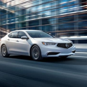 White 2018 Acura TLX Driving in City