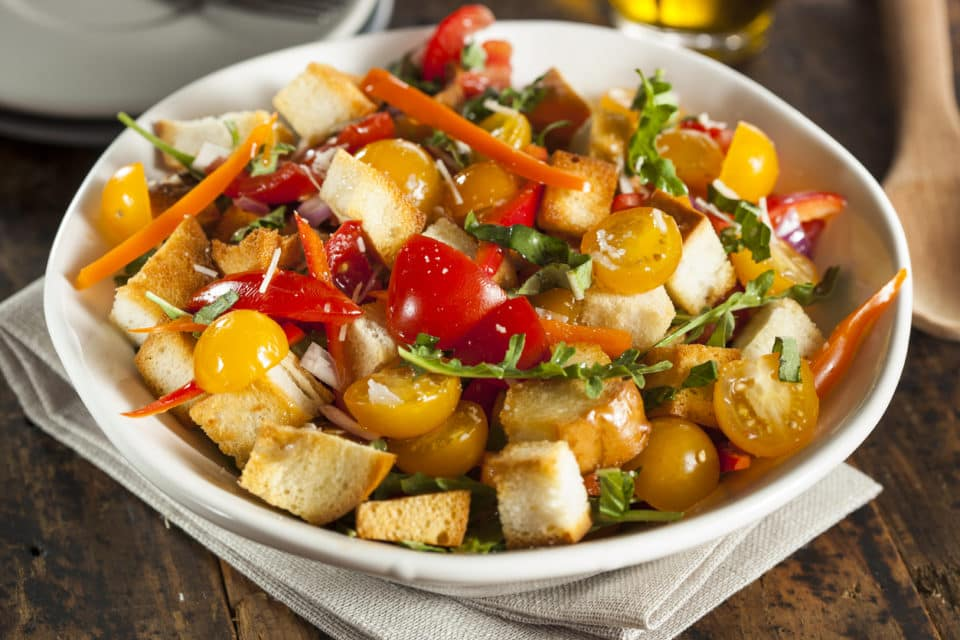 Traditional Panzanella Salad with Bread and Veggies