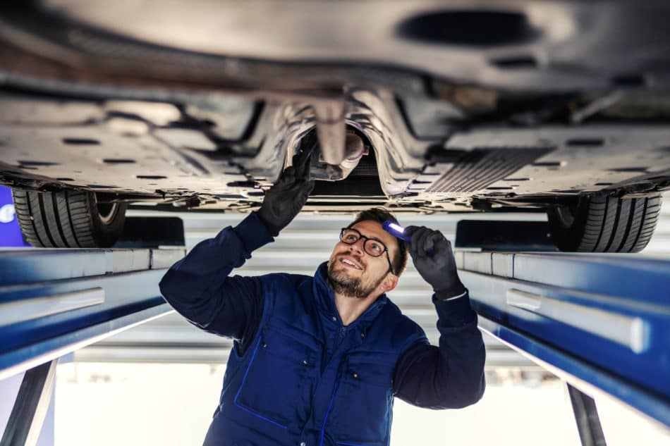 Technical inspection of a vehicle at a dealership service department