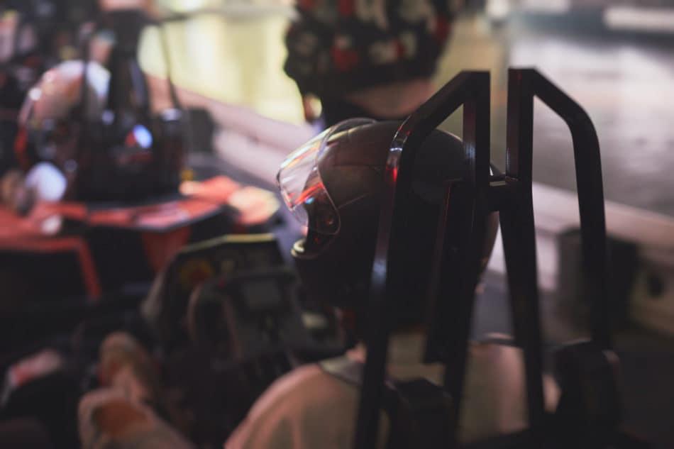 View of indoor karting racetrack, go-kart competition, go-cart racing track