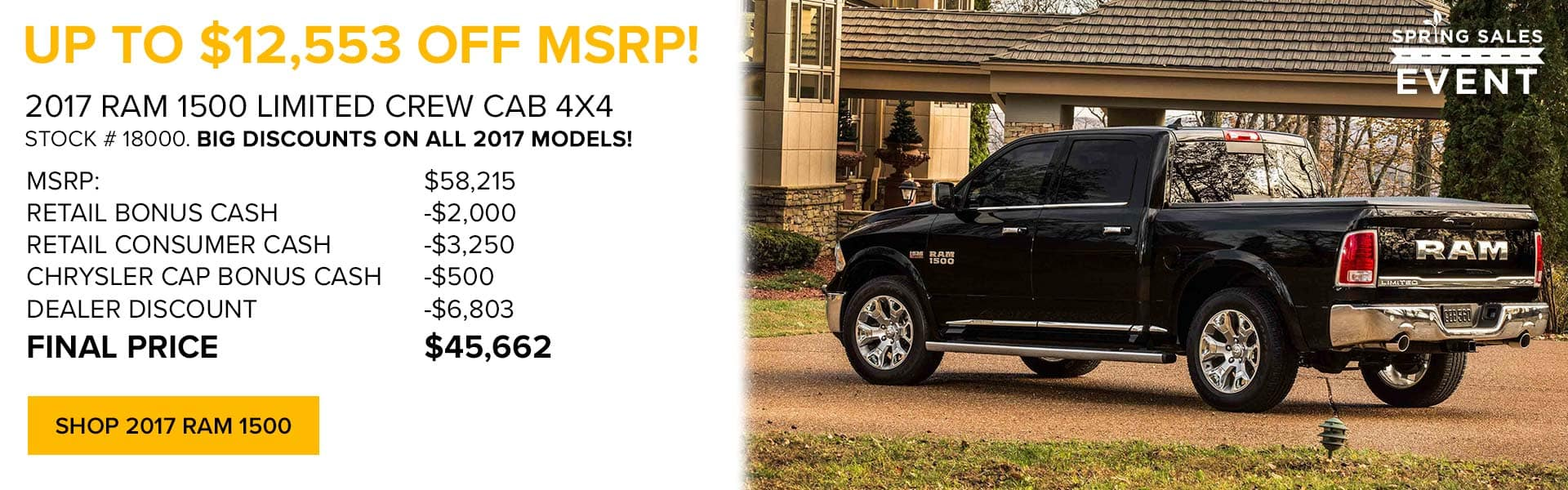 Up to $12,553 off MSRP on 2017 RAM 1500 at Newberg Ram Jeep Dodge