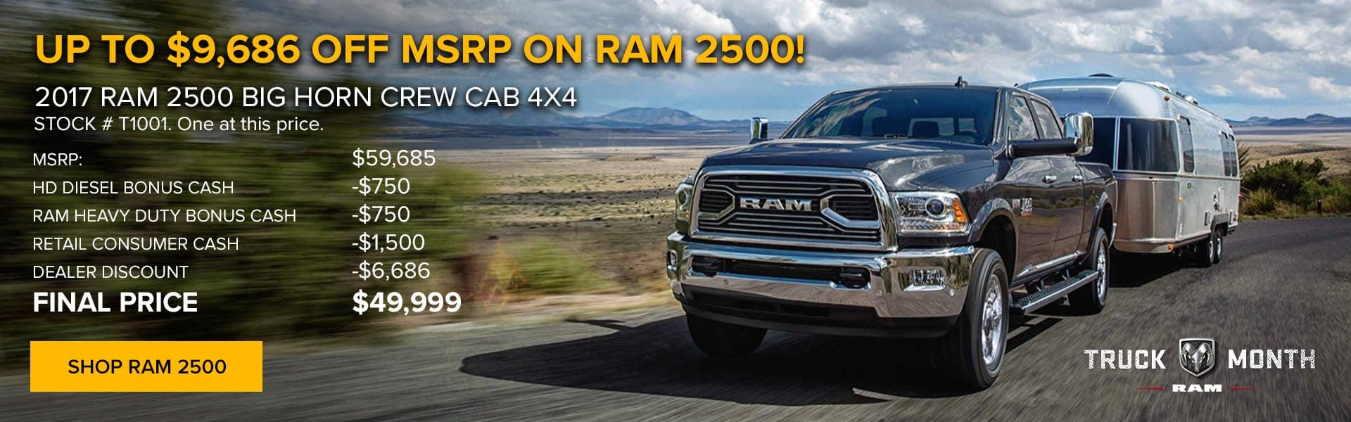 Up to $9,686 off RAM 2500 Big Horn at Newberg Ram Jeep Dodge