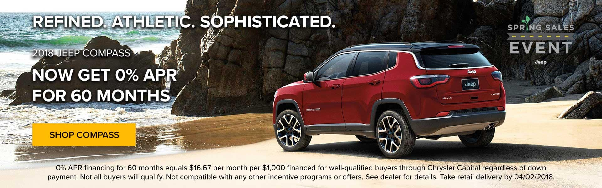 Now get 0% APR up to 60 months on a new Jeep Compass at Newberg Jeep Ram Dodge