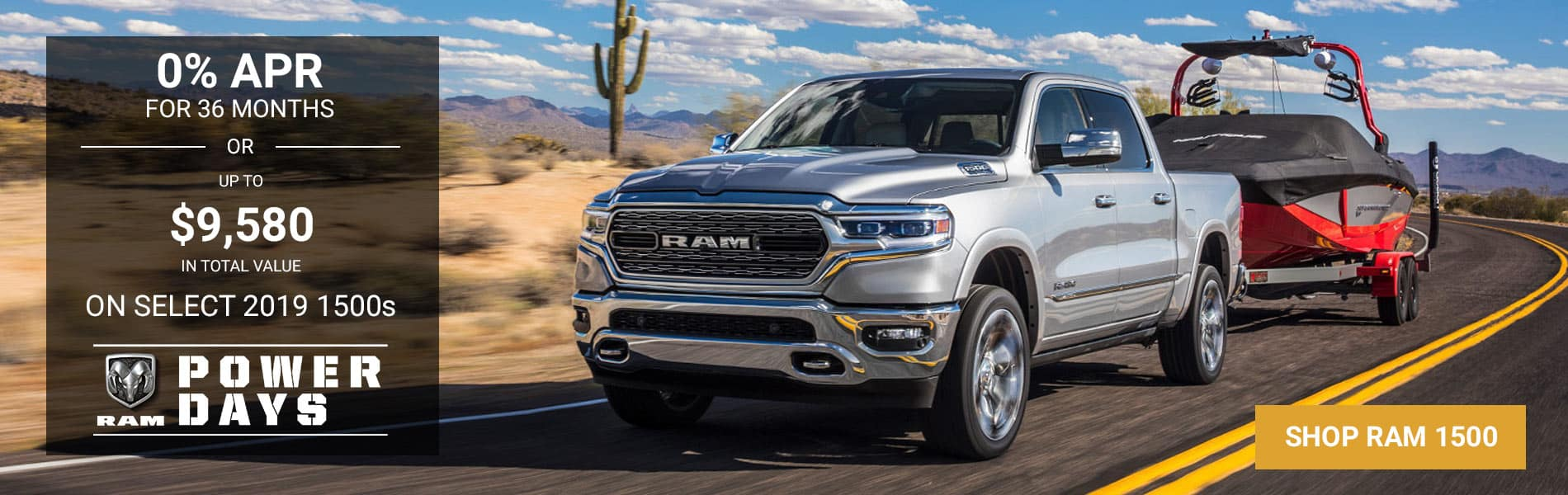 0% APR for 36 months or up to $9,580 off MSRP on select 2019 1500s