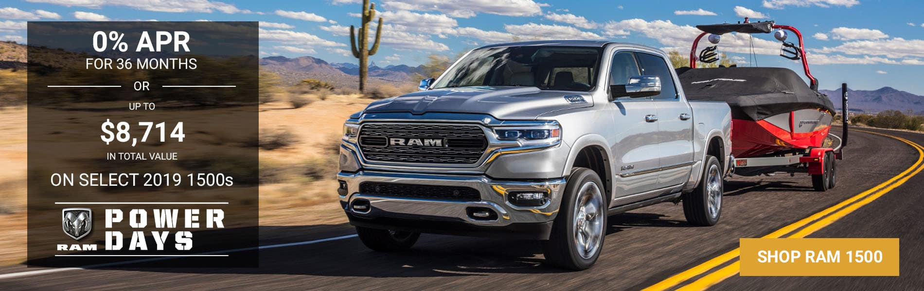 0% APR for 36 months or up to $8,714 off MSRP on select 2019 1500s