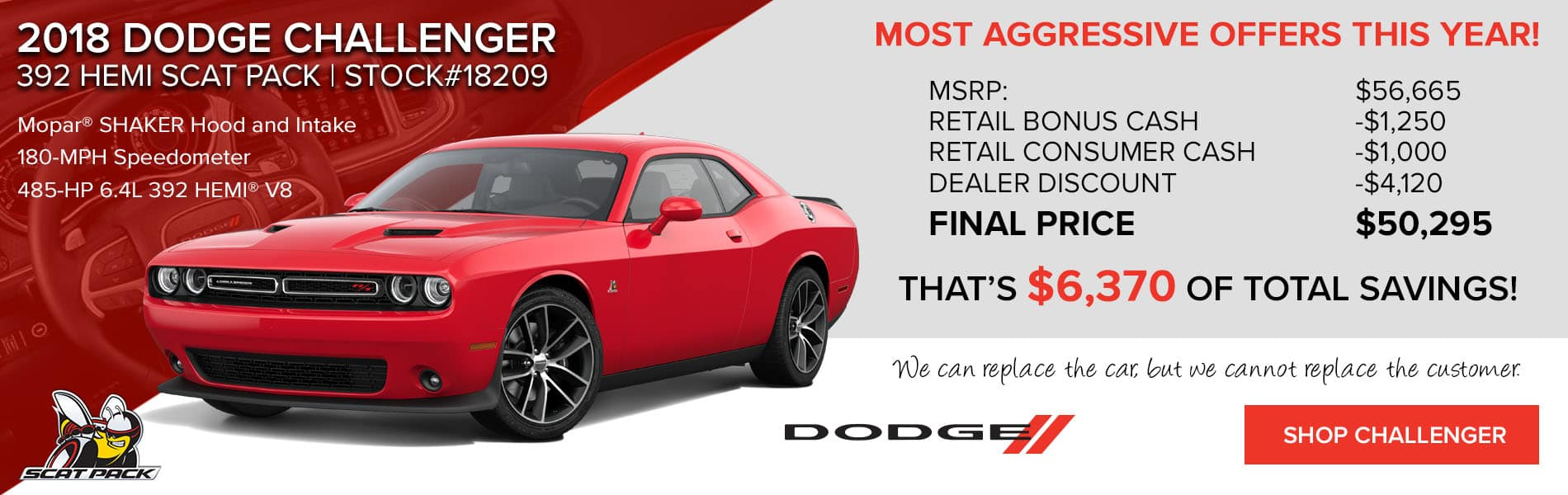 Dodge Challenger 392 Scat Pack with $6,370 in total savings
