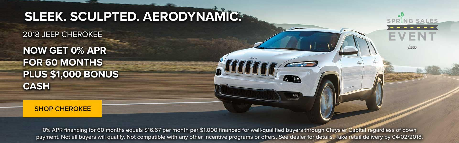 Now get 0% APR for 60 months plus $1000 bonus cash on 2018 Jeep Cherokee at Newberg Jeep Ram Dodge