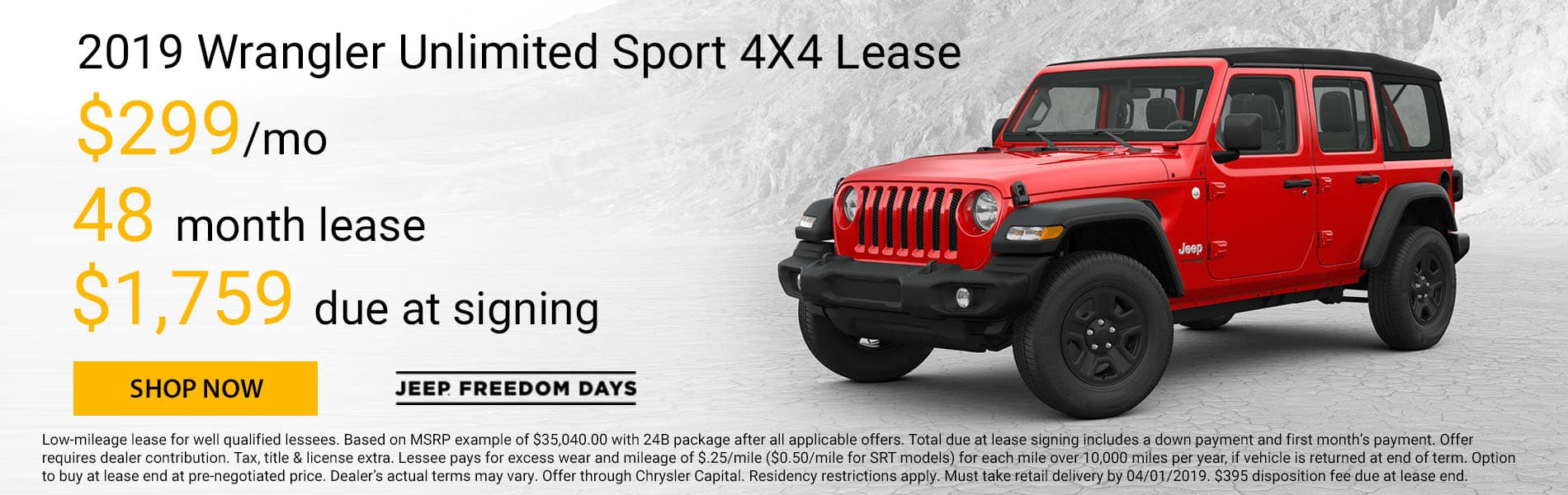 Lease a 2019 Jeep Wrangler Unlimited Sport for $299 per month with $1,759 due at signing
