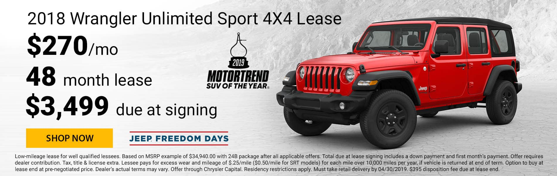 Lease a 2018 Jeep Wrangler Unlimited Sport for $270 per month with $3,499 due at signing