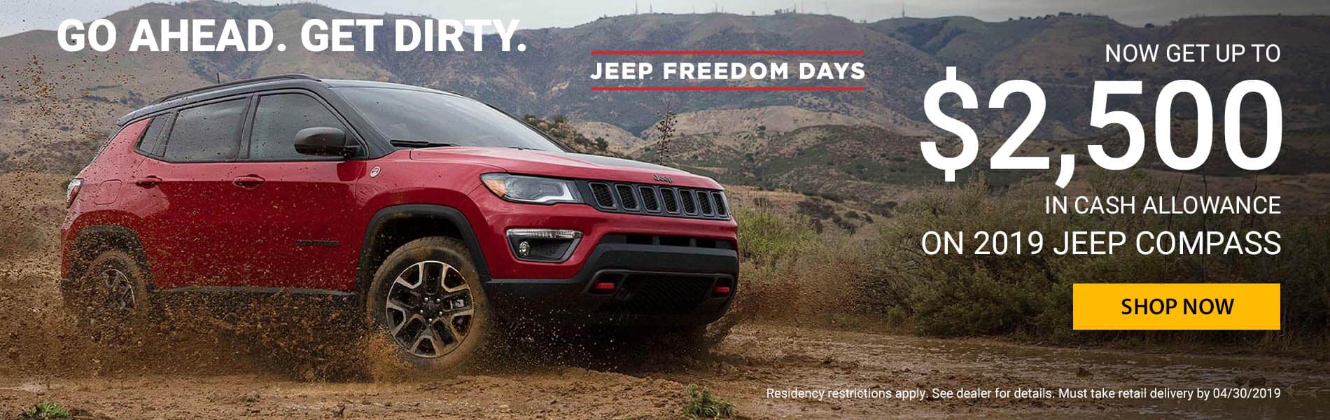 Now get $2500 in cash allowance on the 2019 Jeep Compass