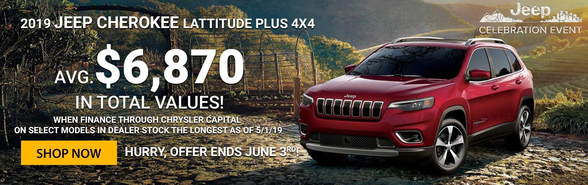 $6,870 in total values on the 2019 Jeep Cherokees oldest in stock!
