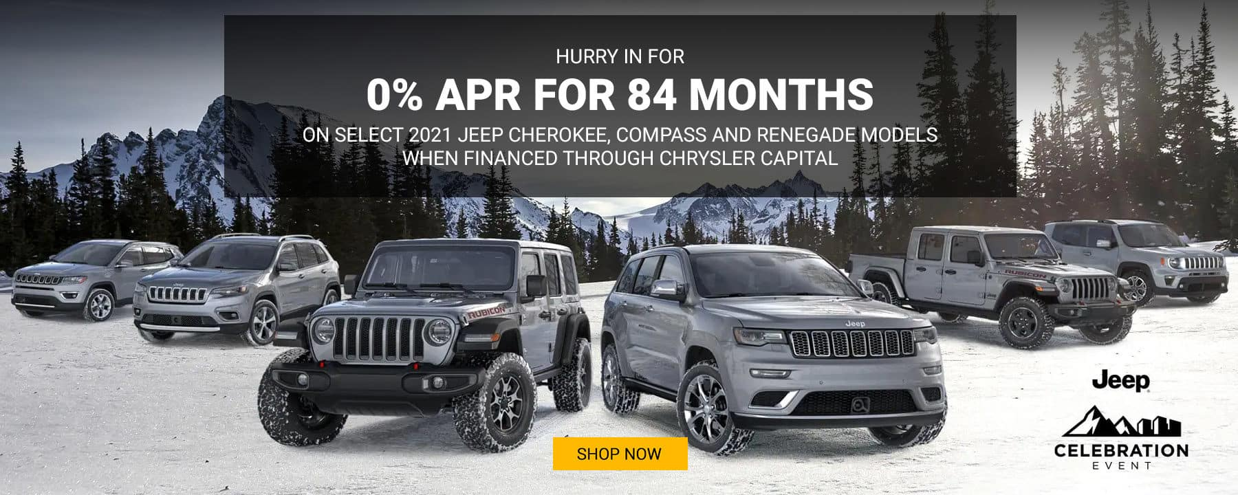 Hurry in for 0% APR for 84 months on select 2021 Jeep Cherokee, Compass and Renegade models.