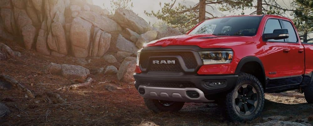 Red 2019 Ram 1500 Parked Near Rocks