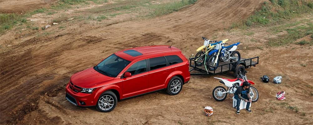 2019 Dodge Journey pulling motorcycles