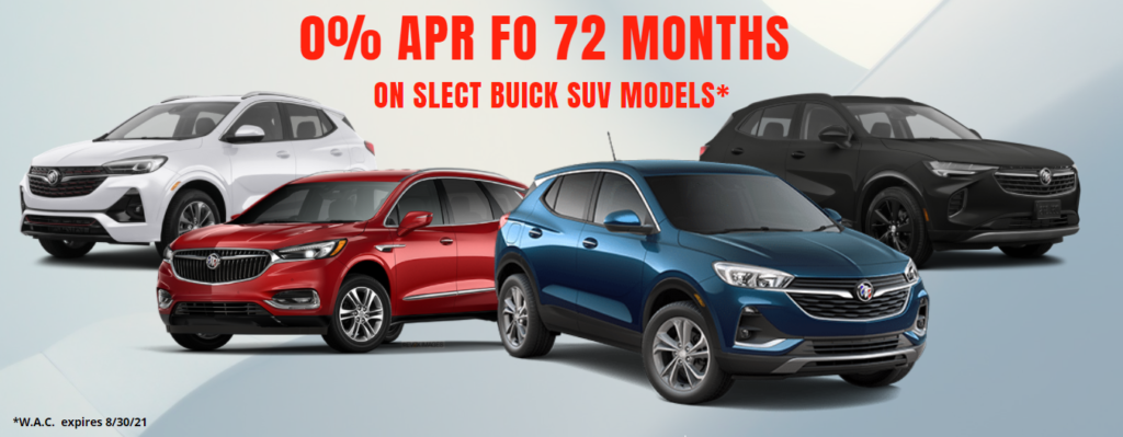 0% APR FOR 72 MONTHS ON SELECT 2021 BUICK SUV MODELS